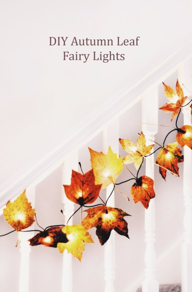 Best Crafts for Fall - DIY Autumn Leaf Fairy Lights - DIY Mason Jar Ideas, Dollar Store Crafts, Rustic Pumpkin Ideas, Wreaths, Candles and Wall Art, Centerpieces, Wedding Decorations, Homemade Gifts, Craft Projects with Leaves, Flowers and Burlap, Painted Art, Candles and Luminaries for Cool Home Decor - Quick and Easy Projects With Step by Step Tutorials and Instructions