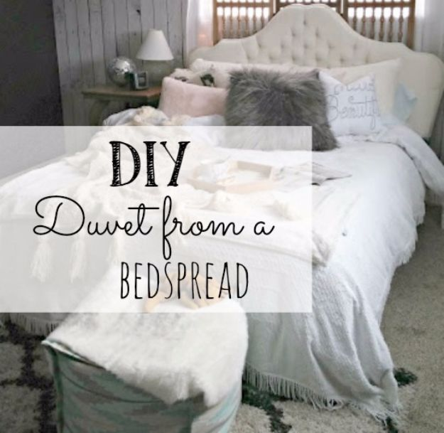 DIY Duvet Covers - DIY Duvet From A Bedspread - Easy Sewing Projects and No Sew Ideas for Duvets - Cheap Bedroom Decor Ideas on A Budget - How To Sew A Duvet Cover and Bedding Tutorial - Creative Covers for Bed - Quick Projects for Making Designer Duvets - Awesome Home Decor Ideas and Crafts #duvet #diybedroom #roomdecor #sewingideas
