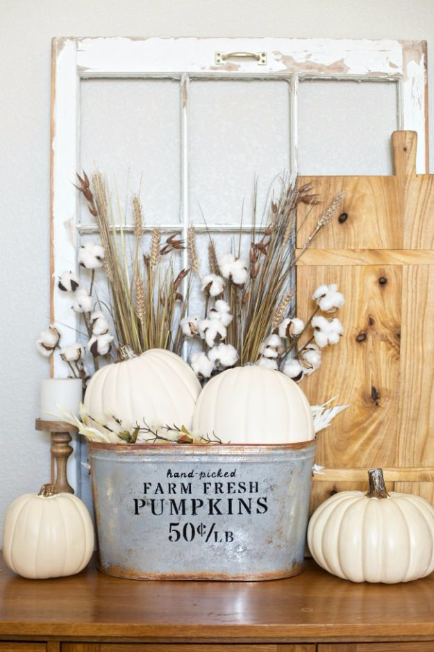 Best Crafts for Fall - DIY Farmhouse Pumpkin Bucket - DIY Mason Jar Ideas, Dollar Store Crafts, Rustic Pumpkin Ideas, Wreaths, Candles and Wall Art, Centerpieces, Wedding Decorations, Homemade Gifts, Craft Projects with Leaves, Flowers and Burlap, Painted Art, Candles and Luminaries for Cool Home Decor - Quick and Easy Projects With Step by Step Tutorials and Instructions http://diyjoy.com/best-crafts-for-fall