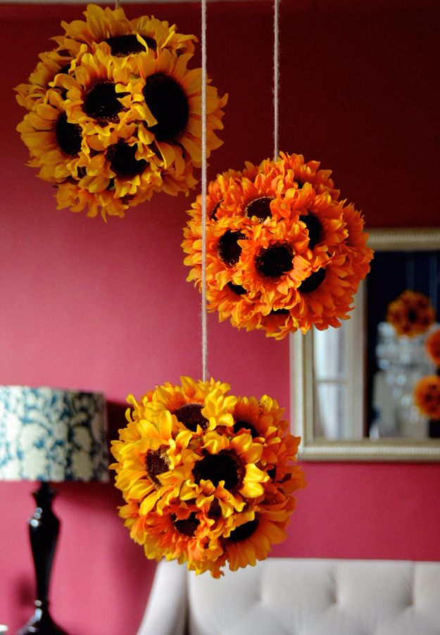 Best Crafts for Fall - DIY Hanging Sunflower Pendants - DIY Mason Jar Ideas, Dollar Store Crafts, Rustic Pumpkin Ideas, Wreaths, Candles and Wall Art, Centerpieces, Wedding Decorations, Homemade Gifts, Craft Projects with Leaves, Flowers and Burlap, Painted Art, Candles and Luminaries for Cool Home Decor - Quick and Easy Projects With Step by Step Tutorials and Instructions