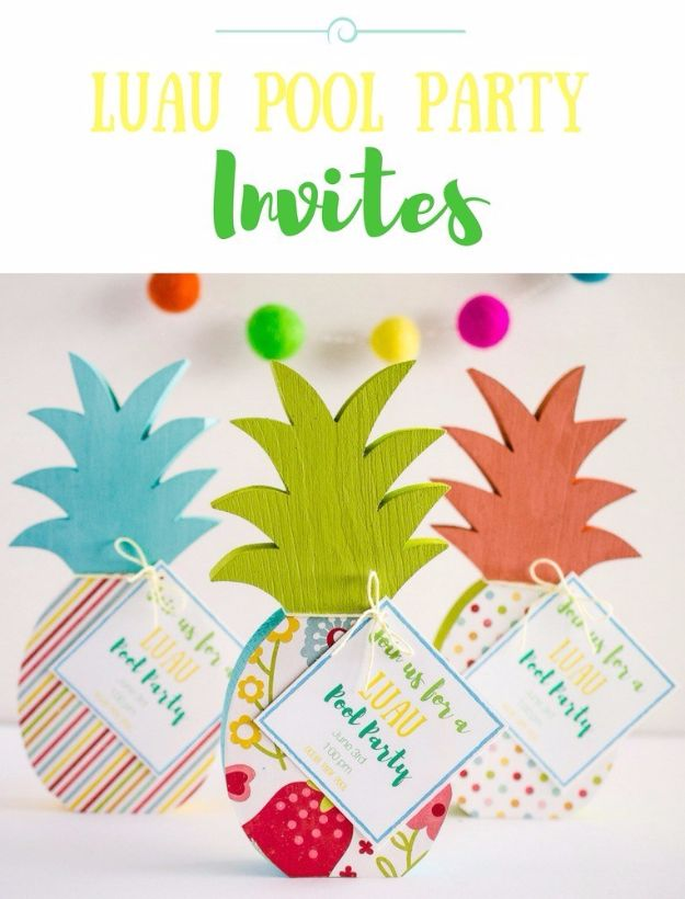 DIY Pool Party Ideas - DIY Luau Pool Party Invite - Easy Decor Ideas for Pools - Best Pool Floats, Coolers, Party Foods and Drinks - Entertaining on A Budget - Step by Step Tutorials and Instructions - Summer Games and Fun Backyard Parties