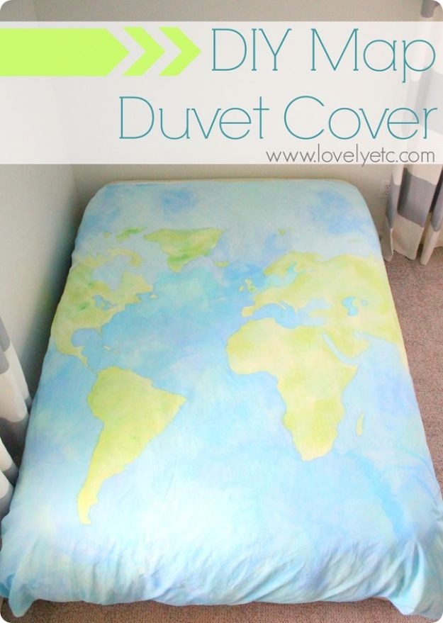 DIY Duvet Covers - DIY Map Duvet Cover - Easy Sewing Projects and No Sew Ideas for Duvets - Cheap Bedroom Decor Ideas on A Budget - How To Sew A Duvet Cover and Bedding Tutorial - Creative Covers for Bed - Quick Projects for Making Designer Duvets - Awesome Home Decor Ideas and Crafts #duvet #diybedroom #roomdecor #sewingideas