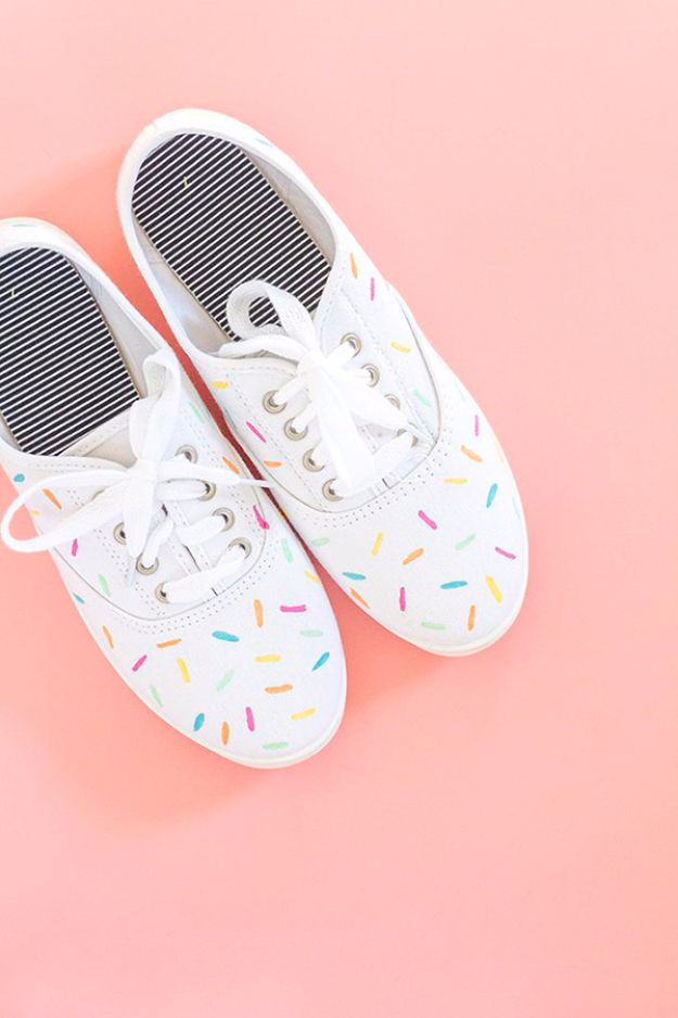 DIY Ideas for Tennis Shoes and Sneakers - DIY Painted Ice Cream Sprinkles Shoes - Fun Projects to Decorate, Update and Style Your High Tops, Keds, Canvas Shoes, Chuck Taylors, White Converse and All Star - Tips, Tutorials, Free Pattern and Step by Step Tutorial - Sparkle, Glitter, Paint, Stencil Tie Dye - Cool Christmas Gifts and Presents and Homemade Gifts for Adults, Teens and Kids http://diyjoy.com/diy-ideas-tennis-shoes