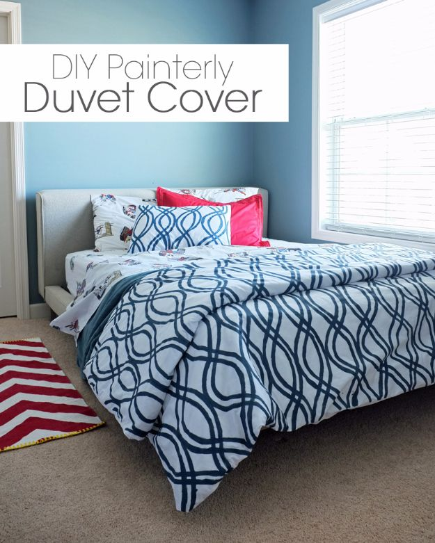 DIY Duvet Covers - DIY Painterly Duvet Cover - Easy Sewing Projects and No Sew Ideas for Duvets - Cheap Bedroom Decor Ideas on A Budget - How To Sew A Duvet Cover and Bedding Tutorial - Creative Covers for Bed - Quick Projects for Making Designer Duvets - Awesome Home Decor Ideas and Crafts #duvet #diybedroom #roomdecor #sewingideas
