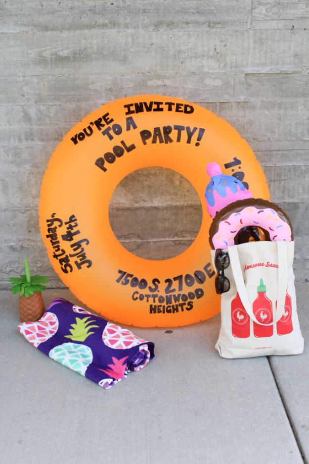 DIY Pool Party Ideas - DIY Pool Party Float Invitation - Easy Decor Ideas for Pools - Best Pool Floats, Coolers, Party Foods and Drinks - Entertaining on A Budget - Step by Step Tutorials and Instructions - Summer Games and Fun Backyard Parties http://diyjoy.com/diy-pool-party-ideas