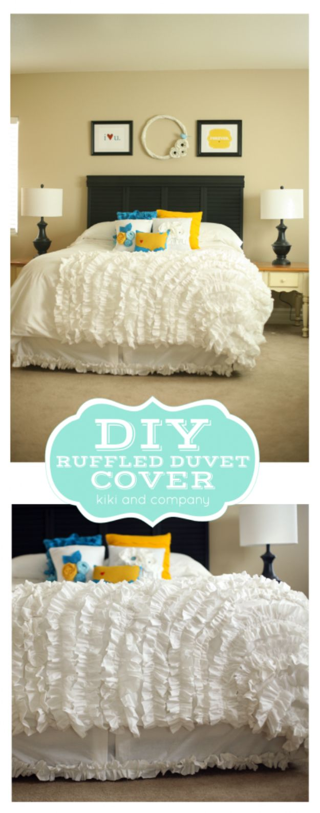 DIY Duvet Covers - DIY Ruffled Duvet Cover - Easy Sewing Projects and No Sew Ideas for Duvets - Cheap Bedroom Decor Ideas on A Budget - How To Sew A Duvet Cover and Bedding Tutorial - Creative Covers for Bed - Quick Projects for Making Designer Duvets - Awesome Home Decor Ideas and Crafts #duvet #diybedroom #roomdecor #sewingideas