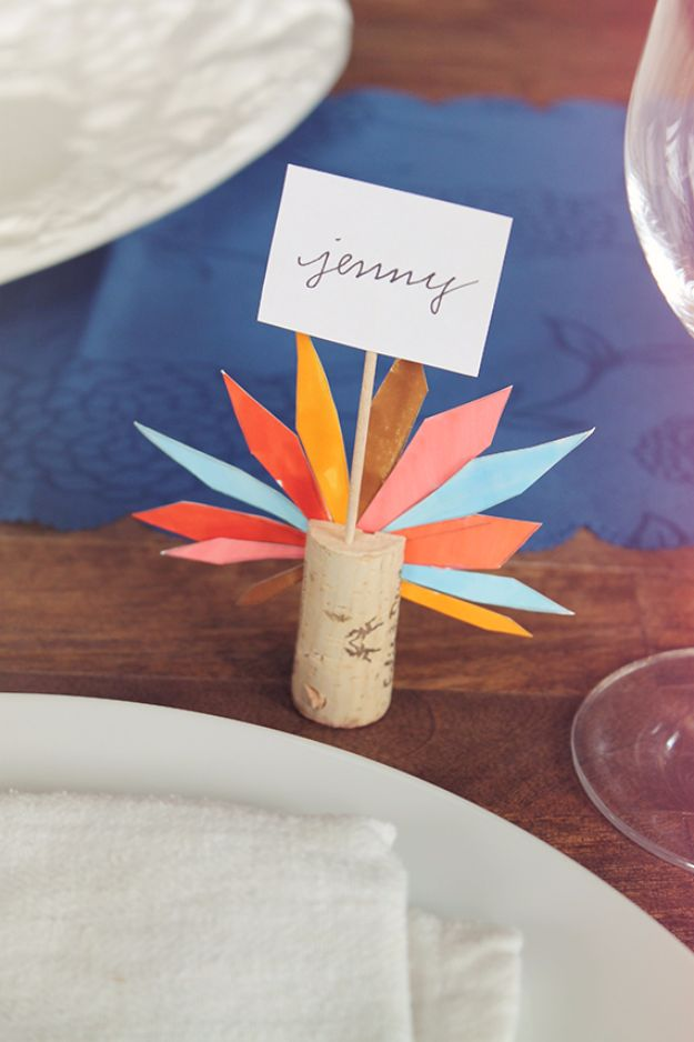 Best Crafts for Fall - DIY Turkey Feather Place Cards - DIY Mason Jar Ideas, Dollar Store Crafts, Rustic Pumpkin Ideas, Wreaths, Candles and Wall Art, Centerpieces, Wedding Decorations, Homemade Gifts, Craft Projects with Leaves, Flowers and Burlap, Painted Art, Candles and Luminaries for Cool Home Decor - Quick and Easy Projects With Step by Step Tutorials and Instructions http://diyjoy.com/best-crafts-for-fall