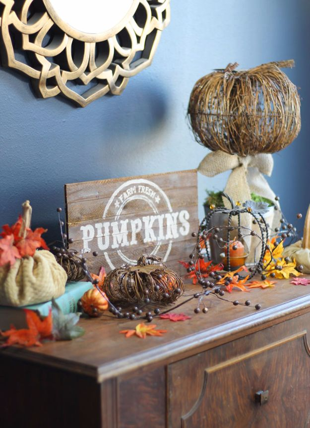 Best Crafts for Fall - DIY Vintage Fall Pallet Sign - DIY Mason Jar Ideas, Dollar Store Crafts, Rustic Pumpkin Ideas, Wreaths, Candles and Wall Art, Centerpieces, Wedding Decorations, Homemade Gifts, Craft Projects with Leaves, Flowers and Burlap, Painted Art, Candles and Luminaries for Cool Home Decor - Quick and Easy Projects With Step by Step Tutorials and Instructions http://diyjoy.com/best-crafts-for-fall