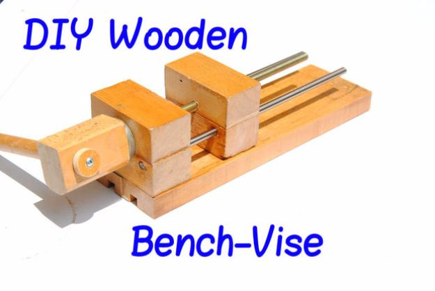 Cool Woodworking Tips - DIY Wooden Bench-Vise - Easy Woodworking Ideas, Woodworking Tips and Tricks, Woodworking Tips For Beginners, Basic Guide For Woodworking - Refinishing Wood, Sanding and Staining, Cleaning Wood and Upcycling Pallets - Tips for Wooden Craft Projects http://diyjoy.com/diy-woodworking-ideas
