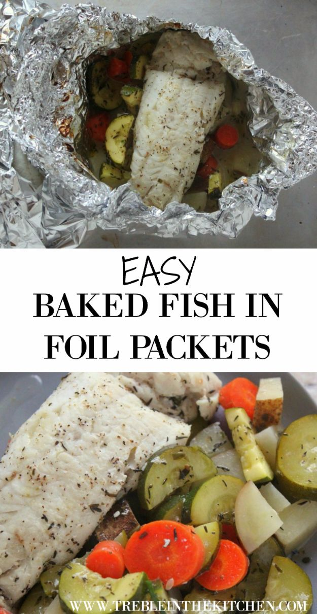 Tin Foil Camping Recipes - Easy Baked Fish In Foil Packets - DIY Tin Foil Dinners, Ideas for Camping Trips and On Grill. Hamburger, Chicken, Healthy, Fish, Steak , Easy Make Ahead Recipe Ideas for the Campfire. Breakfast, Lunch, Dinner and Dessert, Snacks all Wrapped in Foil for Quick Cooking #camping #tinfoilrecipes #campingrecipes