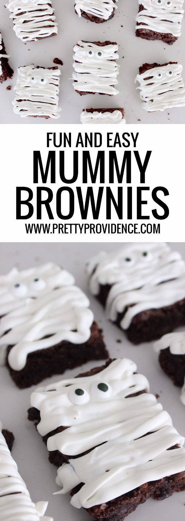 Creative Halloween Party Recipe Ideas Pinterest- Easy Mummy Brownies Recipe - Healthy Ideas for Kids for School, Teens and Adults - Easy and Quick Recipes and Idea for Dips, Chips, Spooky Cookies and Treats - Appetizers and Finger Foods Made With Vegetables, No Candy, Cheap Food, Scary DIY Party Foods With Step by Step Tutorials #halloween #halloweenrecipes #halloweenparty