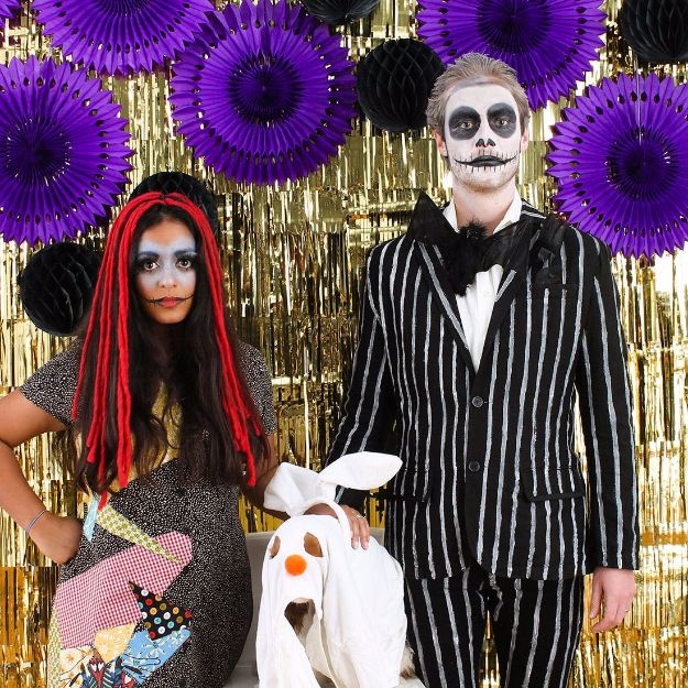DIY Halloween Costumes for Couples - Easy Nightmare Before Christmas Couple's Costume - Funny, Creative and Scary Ideas for Parties, College Party - Unique and Cute Project Idea for Disney Characters, Superhero, Movie Themes, Bonnie and Clyde, Homemade Costume Projects for Boyfriends - Quick Last Minutes Halloween Costume Ideas from Pinterest http://diyjoy.com/best-halloween-costumes-couples