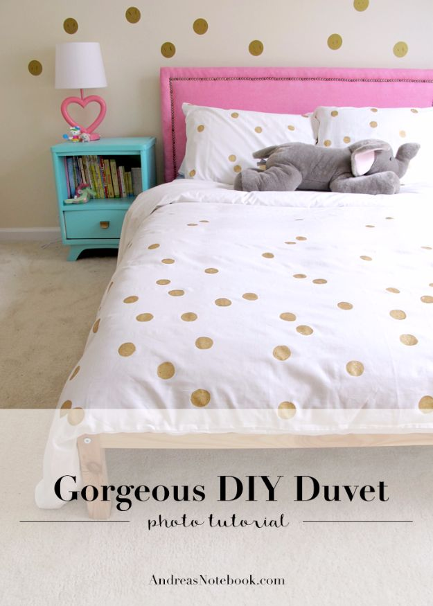 DIY Duvet Covers - Easy Painted Dot Duvet DIY - Easy Sewing Projects and No Sew Ideas for Duvets - Cheap Bedroom Decor Ideas on A Budget - How To Sew A Duvet Cover and Bedding Tutorial - Creative Covers for Bed - Quick Projects for Making Designer Duvets - Awesome Home Decor Ideas and Crafts #duvet #diybedroom #roomdecor #sewingideas