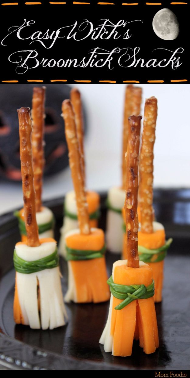 Best Halloween Party Snacks - Easy Witch's Broomstick Snacks - Healthy Ideas for Kids for School, Teens and Adults - Easy and Quick Recipes and Idea for Dips, Chips, Spooky Cookies and Treats - Appetizers and Finger Foods Made With Vegetables, No Candy, Cheap Food, Scary DIY Party Foods With Step by Step Tutorials http://diyjoy.com/halloween-party-snacks