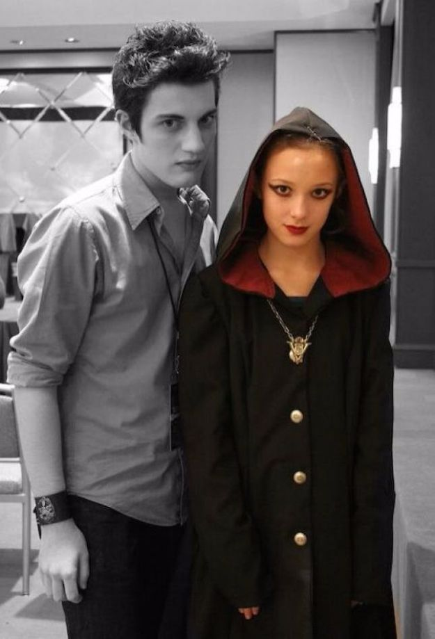 DIY Halloween Costumes for Couples - Edward Cullen + Jane - Funny, Creative and Scary Ideas for Parties, College Party - Unique and Cute Project Idea for Disney Characters, Superhero, Movie Themes, Bonnie and Clyde, Homemade Costume Projects for Boyfriends - Quick Last Minutes Halloween Costume Ideas from Pinterest #halloween #halloweencostumes