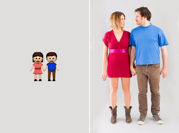 DIY Halloween Costumes for Couples - Emoji Costume - Funny, Creative and Scary Ideas for Parties, College Party - Unique and Cute Project Idea for Disney Characters, Superhero, Movie Themes, Bonnie and Clyde, Homemade Costume Projects for Boyfriends - Quick Last Minutes Halloween Costume Ideas from Pinterest http://diyjoy.com/best-halloween-costumes-couples
