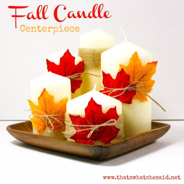 Best Crafts for Fall - Fall Candle Centerpiece - DIY Mason Jar Ideas, Dollar Store Crafts, Rustic Pumpkin Ideas, Wreaths, Candles and Wall Art, Centerpieces, Wedding Decorations, Homemade Gifts, Craft Projects with Leaves, Flowers and Burlap, Painted Art, Candles and Luminaries for Cool Home Decor - Quick and Easy Projects With Step by Step Tutorials and Instructions http://diyjoy.com/best-crafts-for-fall