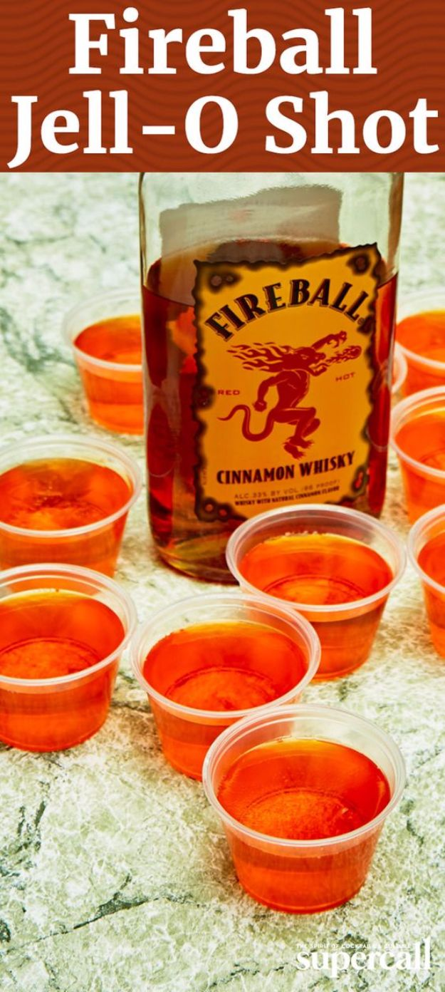 Best Jello Shot Recipes - Fire Ball Jello Shot - Easy Jello Shots Recipe Ideas with Vodka, Strawberry, Tequila, Rum, Jolly Rancher and Creative Alcohol - Unique and Fun Drinks for Parties like Whiskey Fireball, Fall Halloween Versions, Malibu, 4th of July, Birthday, Summer, Christmas and Birthdays #jelloshots #partydrinks #drinkrecipes