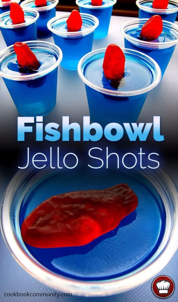 Best Jello Shot Recipes - Fishbowl Jello Shots - Easy Jello Shots Recipe Ideas with Vodka, Strawberry, Tequila, Rum, Jolly Rancher and Creative Alcohol - Unique and Fun Drinks for Parties like Whiskey Fireball, Fall Halloween Versions, Malibu, 4th of July, Birthday, Summer, Christmas and Birthdays #jelloshots #partydrinks #drinkrecipes