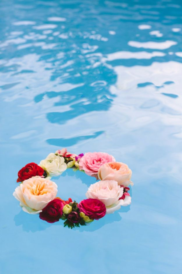 DIY Pool Party Ideas - Floating Flower Wreath - Easy Decor Ideas for Pools - Best Pool Floats, Coolers, Party Foods and Drinks - Entertaining on A Budget - Step by Step Tutorials and Instructions - Summer Games and Fun Backyard Parties http://diyjoy.com/diy-pool-party-ideas