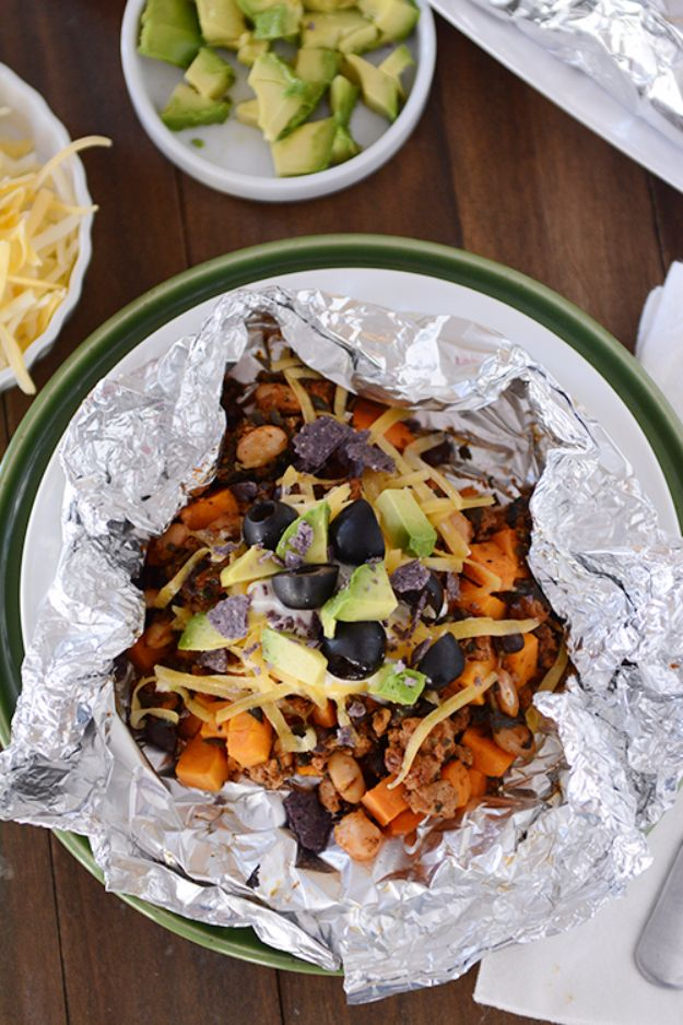Tin Foil Camping Recipes - Foil Packet Sweet Potato Tacos - DIY Tin Foil Dinners, Ideas for Camping Trips and On Grill. Hamburger, Chicken, Healthy, Fish, Steak , Easy Make Ahead Recipe Ideas for the Campfire. Breakfast, Lunch, Dinner and Dessert, Snacks all Wrapped in Foil for Quick Cooking http://diyjoy.com/tinfoil-camping-recipes