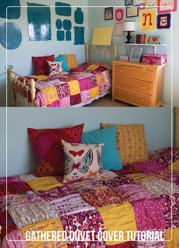 DIY Duvet Covers - Gathered Quilt or Duvet Cover - Easy Sewing Projects and No Sew Ideas for Duvets - Cheap Bedroom Decor Ideas on A Budget - How To Sew A Duvet Cover and Bedding Tutorial - Creative Covers for Bed - Quick Projects for Making Designer Duvets - Awesome Home Decor Ideas and Crafts #duvet #diybedroom #roomdecor #sewingideas
