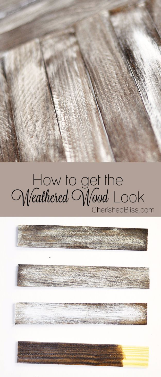 Cool Woodworking Tips - Get The Weathered Wood Look - Easy Woodworking Ideas, Woodworking Tips and Tricks, Woodworking Tips For Beginners, Basic Guide For Woodworking - Refinishing Wood, Sanding and Staining, Cleaning Wood and Upcycling Pallets - Tips for Wooden Craft Projects http://diyjoy.com/diy-woodworking-ideas