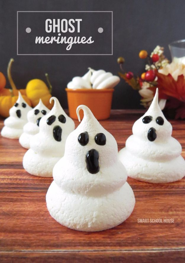 Best Halloween Party Snacks - Ghost Meringues - Healthy Ideas for Kids for School, Teens and Adults - Easy and Quick Recipes and Idea for Dips, Chips, Spooky Cookies and Treats - Appetizers and Finger Foods Made With Vegetables, No Candy, Cheap Food, Scary DIY Party Foods With Step by Step Tutorials http://diyjoy.com/halloween-party-snacks