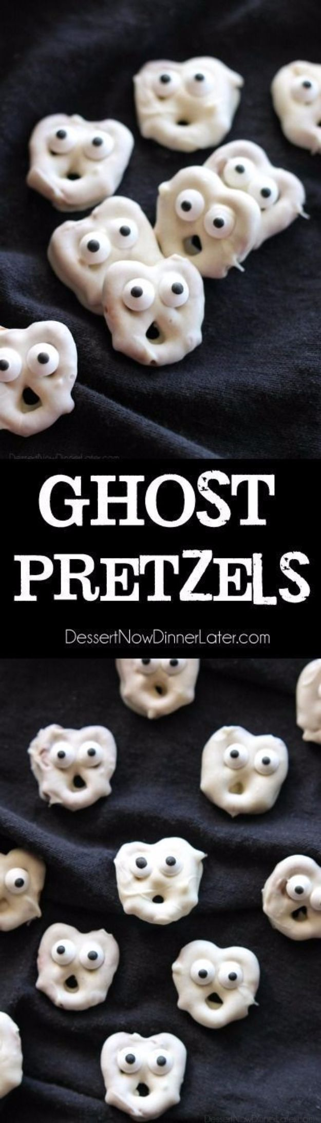 Best Halloween Party Snacks - Ghost Pretzels - Healthy Ideas for Kids for School, Teens and Adults - Easy and Quick Recipes and Idea for Dips, Chips, Spooky Cookies and Treats - Appetizers and Finger Foods Made With Vegetables, No Candy, Cheap Food, Scary DIY Party Foods With Step by Step Tutorials http://diyjoy.com/halloween-party-snacks