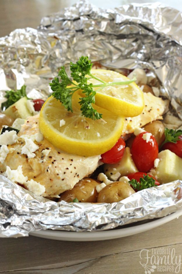 Tin Foil Camping Recipes - Greek Lemon Chicken Foil Packets with Vegetables - DIY Tin Foil Dinners, Ideas for Camping Trips and On Grill. Hamburger, Chicken, Healthy, Fish, Steak , Easy Make Ahead Recipe Ideas for the Campfire. Breakfast, Lunch, Dinner and Dessert, Snacks all Wrapped in Foil for Quick Cooking http://diyjoy.com/tinfoil-camping-recipes