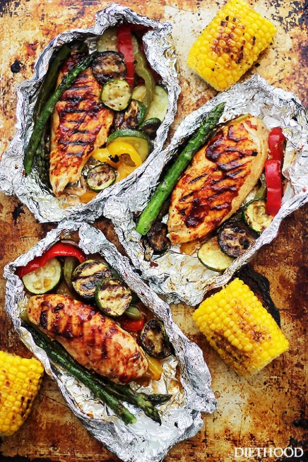 Tin Foil Camping Recipes - Grilled Barbeque Chicken And Vegetables In Foil - DIY Tin Foil Dinners, Ideas for Camping Trips and On Grill. Hamburger, Chicken, Healthy, Fish, Steak , Easy Make Ahead Recipe Ideas for the Campfire. Breakfast, Lunch, Dinner and Dessert, Snacks all Wrapped in Foil for Quick Cooking #camping #tinfoilrecipes #campingrecipes