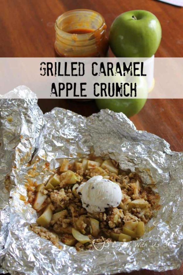 Tin Foil Camping Recipes - Grilled Caramel Apple Crunch - DIY Tin Foil Dinners, Ideas for Camping Trips and On Grill. Hamburger, Chicken, Healthy, Fish, Steak , Easy Make Ahead Recipe Ideas for the Campfire. Breakfast, Lunch, Dinner and Dessert, Snacks all Wrapped in Foil for Quick Cooking http://diyjoy.com/tinfoil-camping-recipes