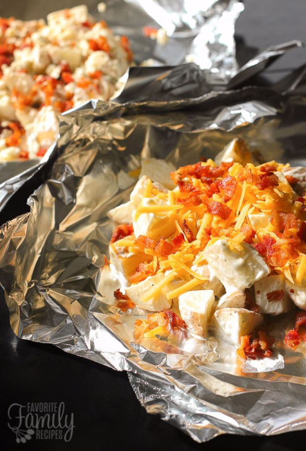 Tin Foil Camping Recipes - Grilled Foil Ranch Potatoes - DIY Tin Foil Dinners, Ideas for Camping Trips and On Grill. Hamburger, Chicken, Healthy, Fish, Steak , Easy Make Ahead Recipe Ideas for the Campfire. Breakfast, Lunch, Dinner and Dessert, Snacks all Wrapped in Foil for Quick Cooking http://diyjoy.com/tinfoil-camping-recipes