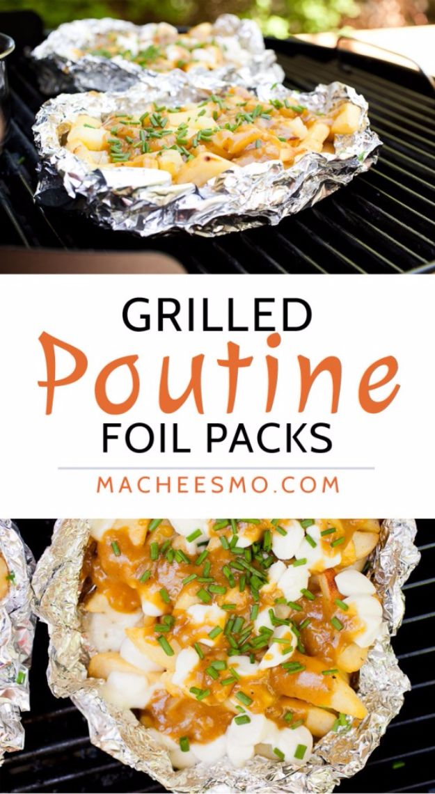 Tin Foil Camping Recipes - Grilled Poutine Foil Packs - DIY Tin Foil Dinners, Ideas for Camping Trips and On Grill. Hamburger, Chicken, Healthy, Fish, Steak , Easy Make Ahead Recipe Ideas for the Campfire. Breakfast, Lunch, Dinner and Dessert, Snacks all Wrapped in Foil for Quick Cooking http://diyjoy.com/tinfoil-camping-recipes