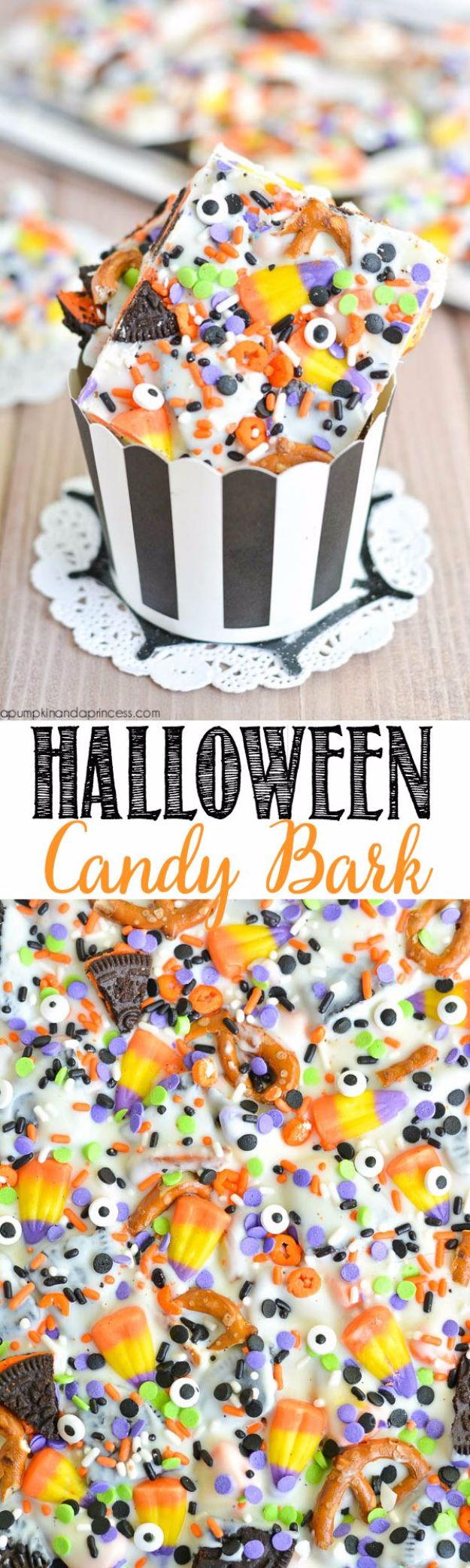 Easy Halloween Party Snacks - Halloween Candy Bark Recipe- Healthy Recipes for Halloween Food Ideas for Kids for School, Teens and Adults - Easy and Quick Recipes and Idea for Dips, Chips, Spooky Cookies and Treats - Appetizers and Finger Foods Made With Vegetables, No Candy, Cheap Food, Scary DIY Party Foods With Step by Step Tutorials #halloween #halloweenrecipes #halloweenparty