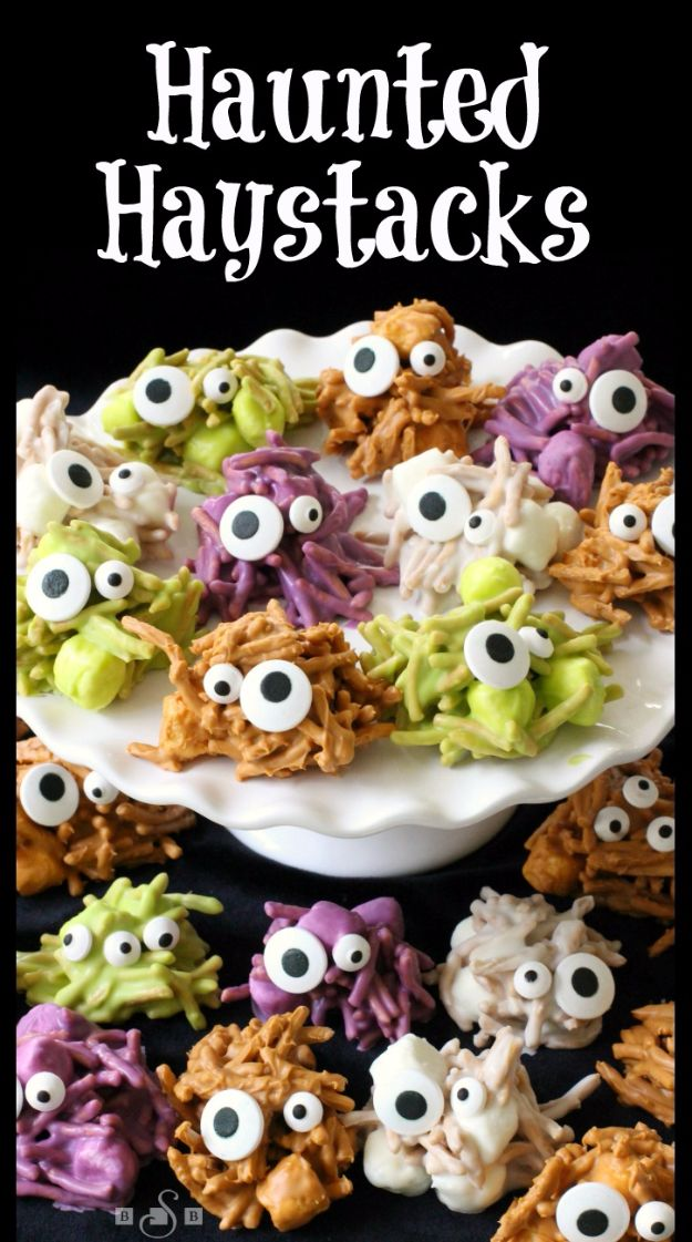 Best Halloween Party Snacks - Haunted Haystacks - Healthy Ideas for Kids for School, Teens and Adults - Easy and Quick Recipes and Idea for Dips, Chips, Spooky Cookies and Treats - Appetizers and Finger Foods Made With Vegetables, No Candy, Cheap Food, Scary DIY Party Foods With Step by Step Tutorials http://diyjoy.com/halloween-party-snacks