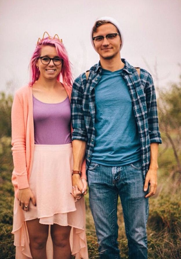 DIY Halloween Costumes for Couples - Hipster Finn & Princess Bubblegum - Funny, Creative and Scary Ideas for Parties, College Party - Unique and Cute Project Idea for Disney Characters, Superhero, Movie Themes, Bonnie and Clyde, Homemade Costume Projects for Boyfriends - Quick Last Minutes Halloween Costume Ideas from Pinterest http://diyjoy.com/best-halloween-costumes-couples