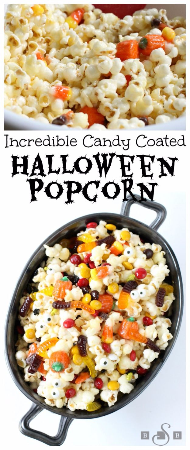 Best Halloween Party Snacks - Incredible Candy Coated Halloween Popcorn - Healthy Ideas for Kids for School, Teens and Adults - Easy and Quick Recipes and Idea for Dips, Chips, Spooky Cookies and Treats - Appetizers and Finger Foods Made With Vegetables, No Candy, Cheap Food, Scary DIY Party Foods With Step by Step Tutorials #halloween #halloweenrecipes #halloweenparty