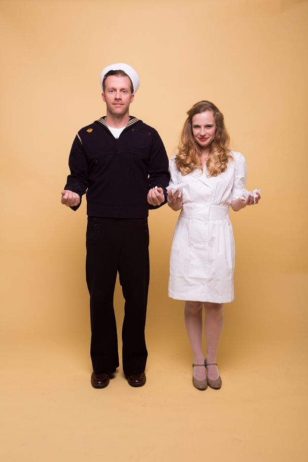 DIY Halloween Costumes for Couples - Kissing Sailor - Funny, Creative and Scary Ideas for Parties, College Party - Unique and Cute Project Idea for Disney Characters, Superhero, Movie Themes, Bonnie and Clyde, Homemade Costume Projects for Boyfriends - Quick Last Minutes Halloween Costume Ideas from Pinterest #halloween #halloweencostumes