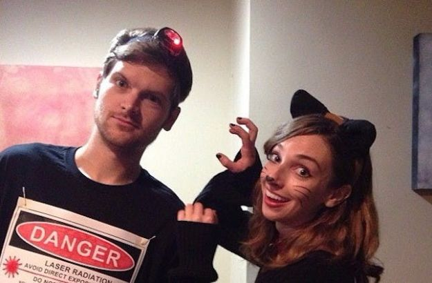 DIY Halloween Costumes for Couples - Last-Minute Cat and Laser Pointer Couple Costume - Funny, Creative and Scary Ideas for Parties, College Party - Unique and Cute Project Idea for Disney Characters, Superhero, Movie Themes, Bonnie and Clyde, Homemade Costume Projects for Boyfriends - Quick Last Minutes Halloween Costume Ideas from Pinterest http://diyjoy.com/best-halloween-costumes-couples