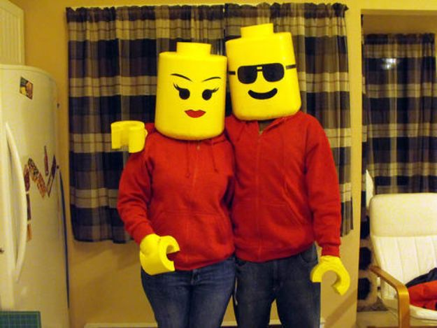 DIY Halloween Costumes for Couples - Lego Costume - Funny, Creative and Scary Ideas for Parties, College Party - Unique and Cute Project Idea for Disney Characters, Superhero, Movie Themes, Bonnie and Clyde, Homemade Costume Projects for Boyfriends - Quick Last Minutes Halloween Costume Ideas from Pinterest http://diyjoy.com/best-halloween-costumes-couples