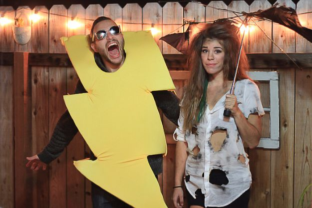 DIY Halloween Costumes for Couples - Lightning Bolt & Electrocuted Person - Funny, Creative and Scary Ideas for Parties, College Party - Unique and Cute Project Idea for Disney Characters, Superhero, Movie Themes, Bonnie and Clyde, Homemade Costume Projects for Boyfriends - Quick Last Minutes Halloween Costume Ideas from Pinterest http://diyjoy.com/best-halloween-costumes-couples
