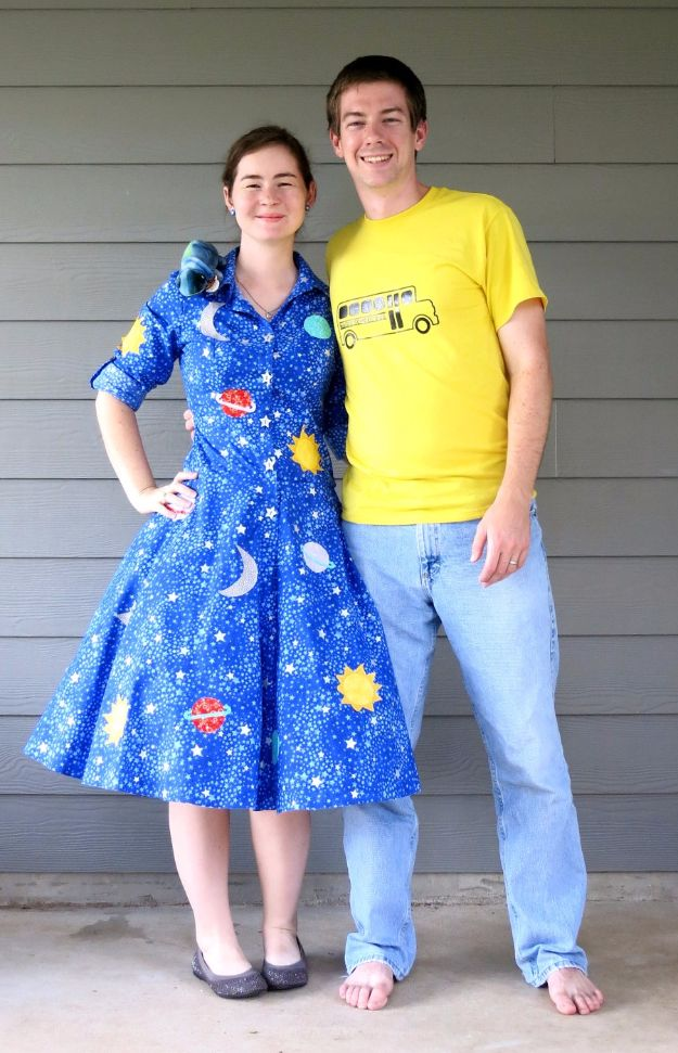 DIY Halloween Costumes for Couples - Magic School Bus Halloween Costumes - Funny, Creative and Scary Ideas for Parties, College Party - Unique and Cute Project Idea for Disney Characters, Superhero, Movie Themes, Bonnie and Clyde, Homemade Costume Projects for Boyfriends - Quick Last Minutes Halloween Costume Ideas from Pinterest http://diyjoy.com/best-halloween-costumes-couples