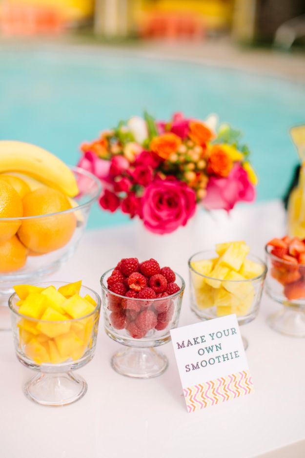 DIY Pool Party Ideas - Make Your Own Smoothie - Easy Decor Ideas for Pools - Best Pool Floats, Coolers, Party Foods and Drinks - Entertaining on A Budget - Step by Step Tutorials and Instructions - Summer Games and Fun Backyard Parties