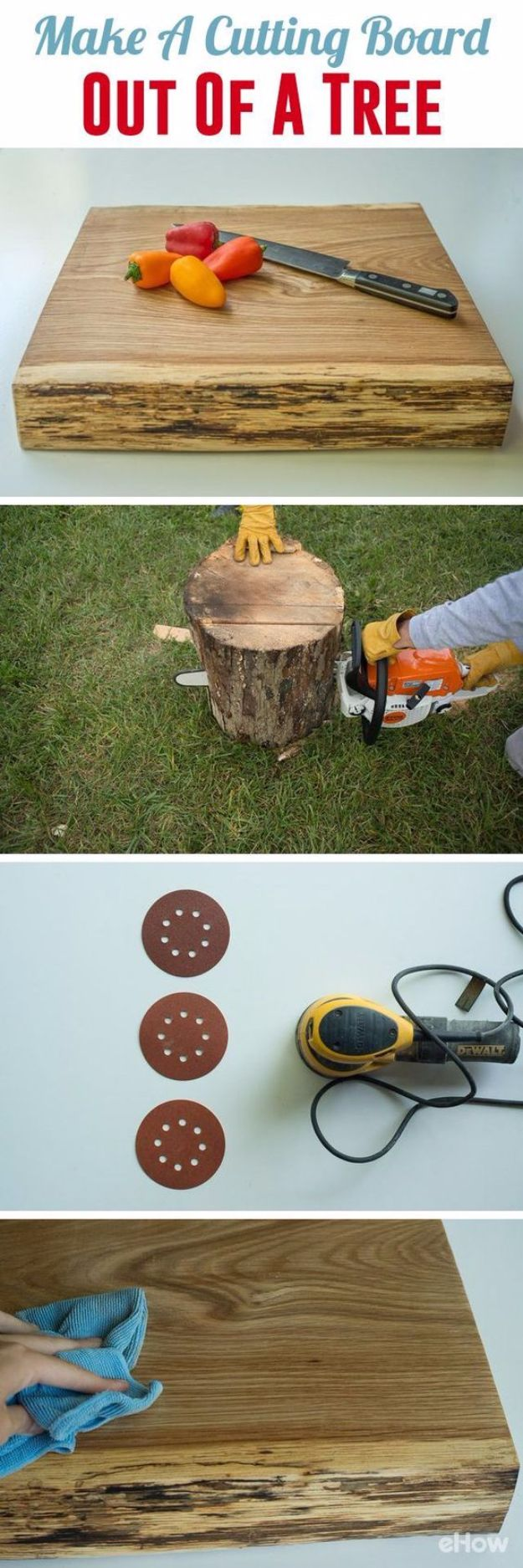 Cool Woodworking Tips - Make a Cutting Board Out of a Tree - Easy Woodworking Ideas, Woodworking Tips and Tricks, Woodworking Tips For Beginners, Basic Guide For Woodworking - Refinishing Wood, Sanding and Staining, Cleaning Wood and Upcycling Pallets - Tips for Wooden Craft Projects http://diyjoy.com/diy-woodworking-ideas