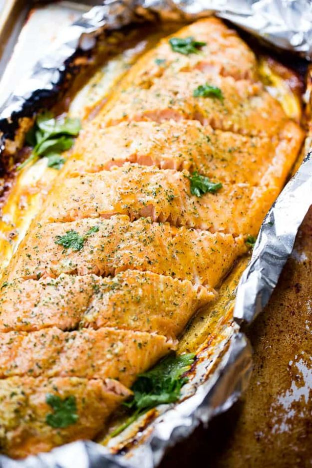 Tin Foil Camping Recipes - Maple Mustard Salmon In Foil - DIY Tin Foil Dinners, Ideas for Camping Trips and On Grill. Hamburger, Chicken, Healthy, Fish, Steak , Easy Make Ahead Recipe Ideas for the Campfire. Breakfast, Lunch, Dinner and Dessert, Snacks all Wrapped in Foil for Quick Cooking http://diyjoy.com/tinfoil-camping-recipes