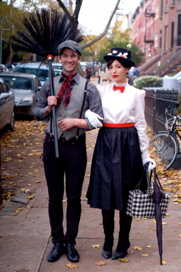 DIY Halloween Costumes for Couples - Mary Poppins - Funny, Creative and Scary Ideas for Parties, College Party - Unique and Cute Project Idea for Disney Characters, Superhero, Movie Themes, Bonnie and Clyde, Homemade Costume Projects for Boyfriends - Quick Last Minutes Halloween Costume Ideas from Pinterest http://diyjoy.com/best-halloween-costumes-couples