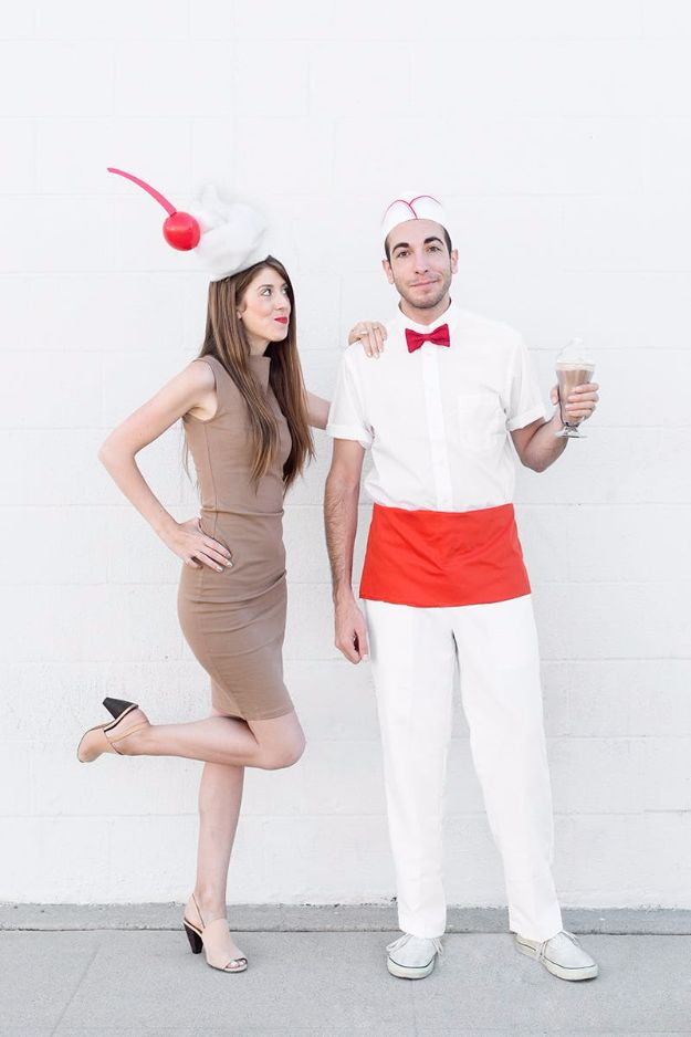 DIY Halloween Costumes for Couples - Milkshake And Waiter - Funny, Creative and Scary Ideas for Parties, College Party - Unique and Cute Project Idea for Disney Characters, Superhero, Movie Themes, Bonnie and Clyde, Homemade Costume Projects for Boyfriends - Quick Last Minutes Halloween Costume Ideas from Pinterest http://diyjoy.com/best-halloween-costumes-couples
