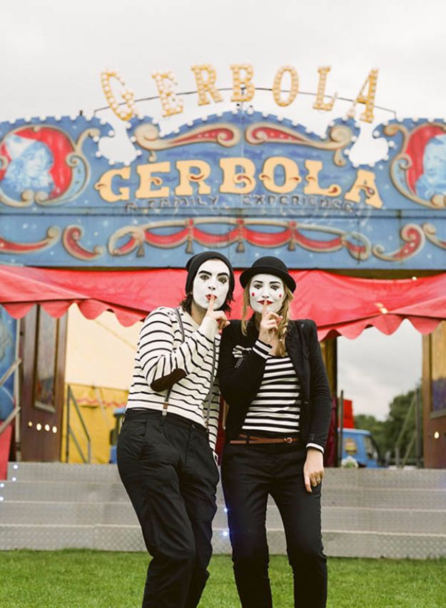 DIY Halloween Costumes for Couples - Mimes At The Circus - Funny, Creative and Scary Ideas for Parties, College Party - Unique and Cute Project Idea for Disney Characters, Superhero, Movie Themes, Bonnie and Clyde, Homemade Costume Projects for Boyfriends - Quick Last Minutes Halloween Costume Ideas from Pinterest http://diyjoy.com/best-halloween-costumes-couples