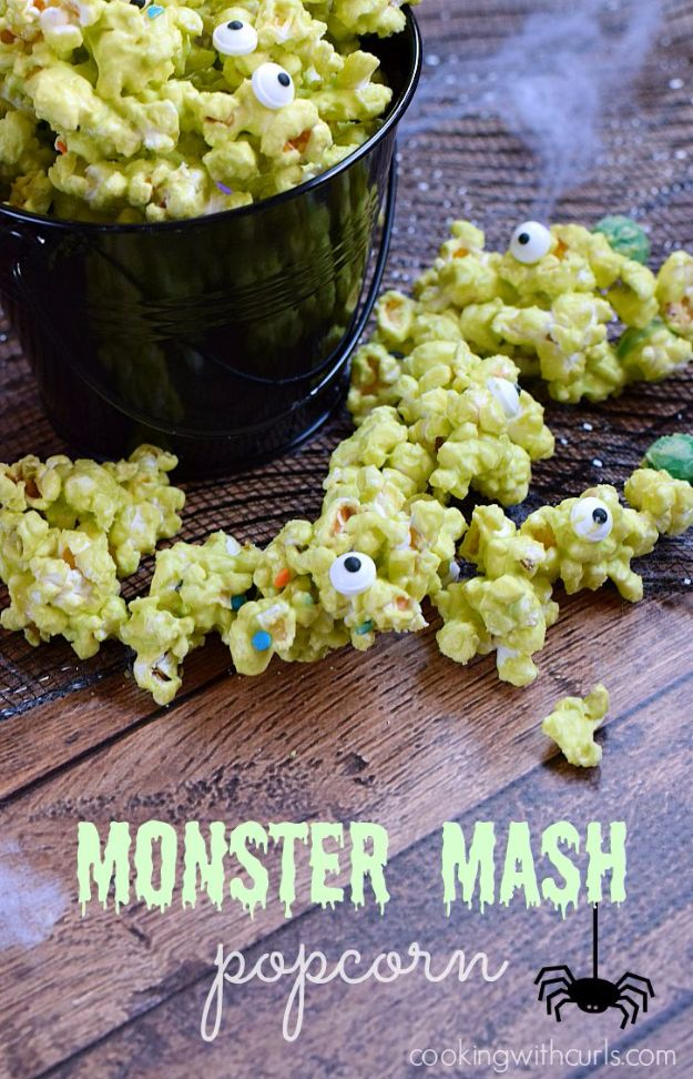 Best Halloween Party Snacks - Monster Mash Popcorn - Healthy Ideas for Kids for School, Teens and Adults - Easy and Quick Recipes and Idea for Dips, Chips, Spooky Cookies and Treats - Appetizers and Finger Foods Made With Vegetables, No Candy, Cheap Food, Scary DIY Party Foods With Step by Step Tutorials http://diyjoy.com/halloween-party-snacks